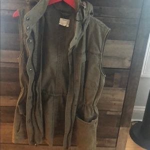 DKNY green vest with hood